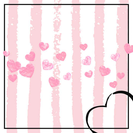 Pink glitter confetti with hearts on pink stripes. Sequins with metallic shimmer and sparkles. Template with pink glitter confetti for party invitation, banner, greeting card, bridal shower.