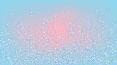 Bath bubble. Detergent soap foam and suds for bathtub. Shampoo. 3d vector illustration template. Bright fizz and splash. Realistic water frame and border. Purple colorful liquid bath bubble.