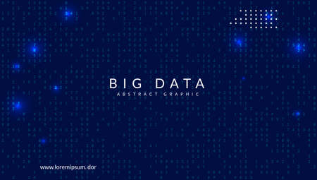 Big data concept. Digital technology abstract background. Artificial intelligence and deep learning. Tech visual for industry template. Modern big data concept backdrop. Stock Illustratie