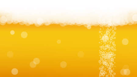 Oktoberfest background. Beer foam. Craft lager splash. bar banner template. Hipster pint of ale with realistic white bubbles. Cool liquid drink for Yellow glass with oktoberfest.