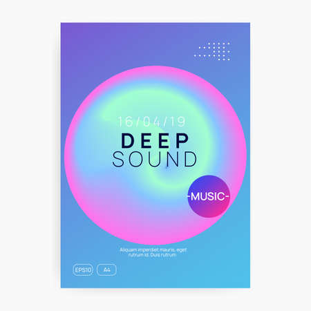 Summer music. Electronic sound. Night dance lifestyle holiday. Abstract house concert banner template. Fluid holographic gradient shape and line. Fest poster and flyer for summer music. Stock Illustratie