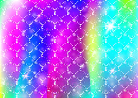 Rainbow scales background with kawaii mermaid princess pattern. Fish tail banner with magic sparkles and stars. Sea fantasy invitation for girlie party. Neon backdrop with rainbow scales. Stock Illustratie