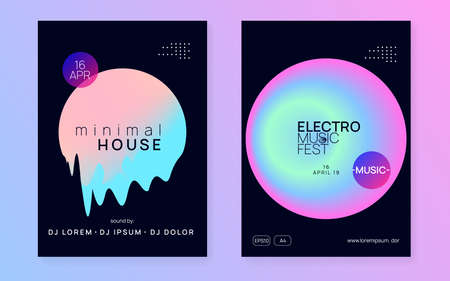 Music fest set. Electronic sound. Night dance lifestyle holiday. Bright house club cover design. Fluid holographic gradient shape and line. Summer poster and music fest flyer. Stock Illustratie