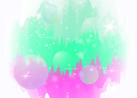 Abstract landscape with holographic cosmos and future universe background. Girlie mountain silhouette with wavy glitch. Futuristic gradient and shape. 3d fluid. Memphis abstract landscape.