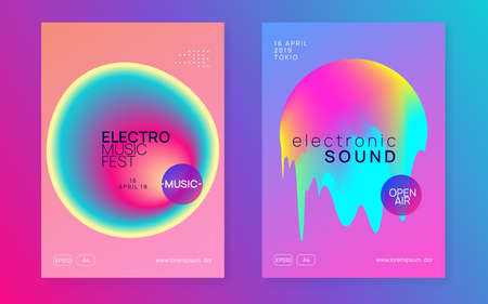 Music flyer set. Fluid holographic gradient shape and line. Geometric indie show cover layout. Electronic sound. Night dance lifestyle holiday. Poster for summer fest and music flyer.