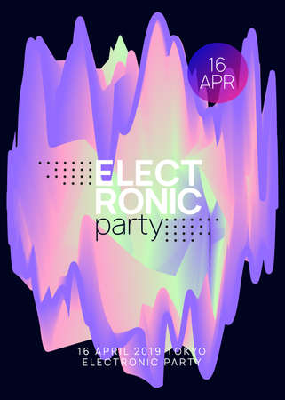Summer music. Fluid holographic gradient shape and line. Electronic sound. Night dance lifestyle holiday. Minimal trance club cover layout. Fest poster and flyer for summer music.