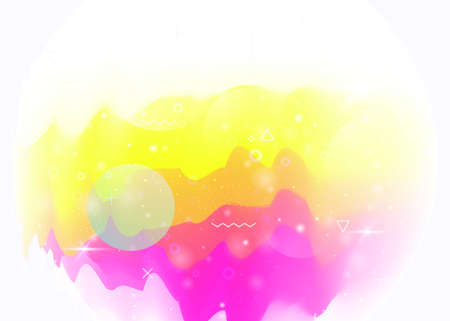 Holographic background with abstract cosmos landscape and future universe. Futuristic gradient and shape. Pearlescent mountain silhouette with wavy glitch. 3d fluid. Memphis holographic background.