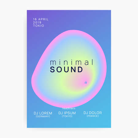 Summer music. Electronic sound. Night dance lifestyle holiday. Abstract house show magazine layout. Fluid holographic gradient shape and line. Fest poster and flyer for summer music.