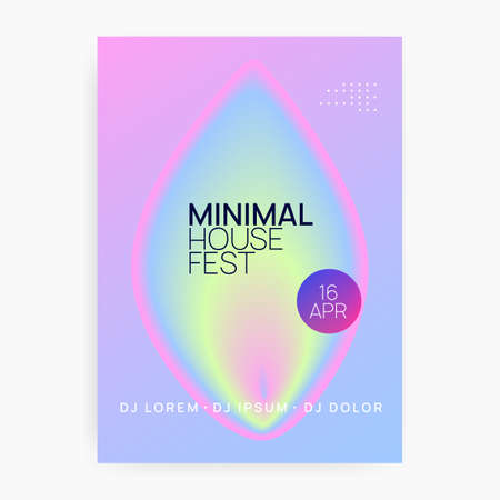 Music poster. Wavy techno club banner layout. Fluid holographic gradient shape and line. Electronic sound. Night dance lifestyle holiday. Summer fest flyer and music poster. Stockfoto - 157839202