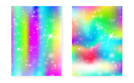 Princess background with kawaii rainbow gradient. Magic unicorn hologram. Holographic fairy set. Colorful fantasy cover. Princess background with sparkles and stars for cute girl party invitation. Stock Illustratie