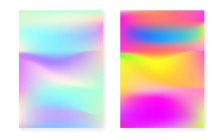 Holographic cover set with hologram gradient background. 90s, 80s retro style. Pearlescent graphic template for book, annual, mobile interface, web app. Retro minimal holographic cover.