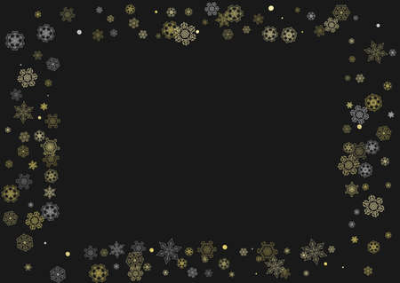Glitter snowflakes frame on black horizontal background. Shiny Christmas and New Year frame for gift certificate, ads, banners, flyers. Falling snow with golden glitter snowflakes for party invite Stockfoto - 157839254
