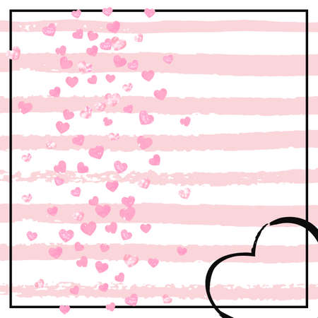 Pink glitter hearts confetti  on white stripes. Random falling sequins with glossy sparkles. Design with pink glitter hearts for greeting card, bridal shower and save the date invite. Illusztráció