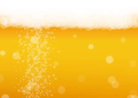 Beer background. Craft lager splash. Oktoberfest foam. Bavarian pint of ale with realistic white bubbles. Cool liquid drink for bar menu layout. Gold cup with beer background. Illusztráció