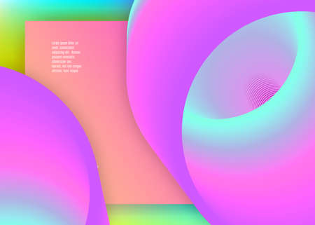 Liquid fluid. Vivid gradient mesh. Round ui, mobile template. Holographic 3d backdrop with modern trendy blend. Liquid fluid with dynamic elements and shapes. Landing page.