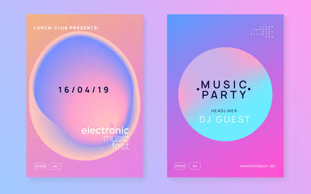 Music poster set. Fluid holographic gradient shape and line. Electronic sound. Night dance lifestyle holiday. Commercial house show banner layout. Summer fest flyer and music poster.