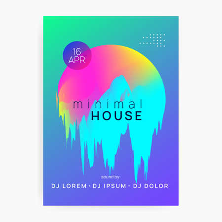 Music poster. Trendy techno show brochure layout. Fluid holographic gradient shape and line. Electronic sound. Night dance lifestyle holiday. Summer fest flyer and music poster.