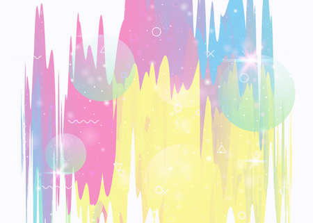 Universe landscape with holographic cosmos and abstract future background. Futuristic gradient and shape. Kawaii mountain silhouette with wavy glitch. 3d fluid. Memphis universe landscape. Vettoriali