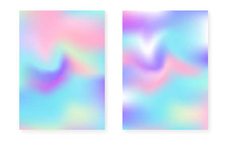 Holographic cover set with hologram gradient background. 90s, 80s retro style. Iridescent graphic template for book, annual, mobile interface, web app. Colorful minimal holographic cover. Vettoriali