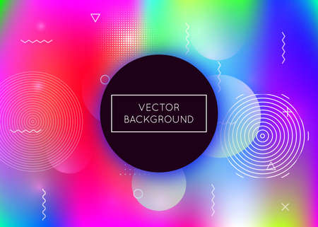 Bauhaus background with liquid shapes. Dynamic holographic fluid with gradient memphis elements. Graphic template for placard, presentation, banner, brochure. Bright bauhaus background.