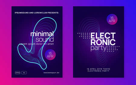 Abstract music. Geometric discotheque brochure set. Dynamic fluid shape and line. Abstract music flyer. Techno dj party. Electro dance event. Electronic trance sound. Club poster. 向量圖像