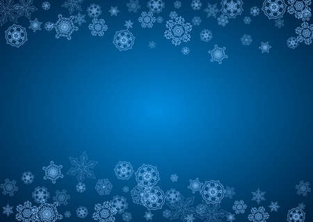New Year snowflakes on blue background with sparkles. Horizontal Christmas and New Year snowflakes  falling. For season sales, special offer, banners, cards, party invites, flyer. White frosty snow