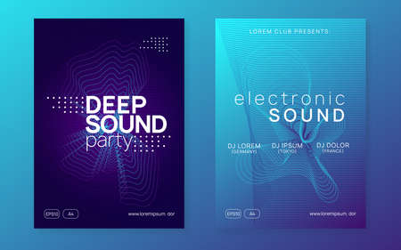 Techno event. Dynamic fluid shape and line. Energy discotheque banner set. Neon techno event flyer. Electro dance music. Electronic sound. Trance fest poster. Club dj party.