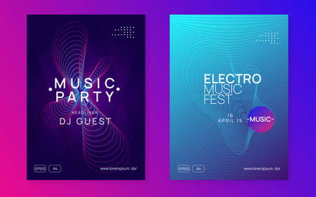 Electronic fest. Dynamic fluid shape and line. Cool concert cover set. Neon electronic fest flyer. Electro dance music. Trance sound. Club event poster. Techno dj party.