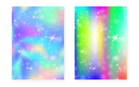 Magic background with princess rainbow gradient. Kawaii unicorn hologram. Holographic fairy set. Multicolor fantasy cover. Magic background with sparkles and stars for cute girl party invitation.