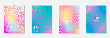 Music cover. Plastic notebook, certificate, flyer, invitation mockup. Holographic. Music cover with minimalist geometric line and trendy shapes.