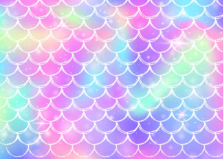 Kawaii mermaid background with princess rainbow scales pattern. Fish tail banner with magic sparkles and stars. Sea fantasy invitation for girlie party. Rainbow kawaii mermaid backdrop.