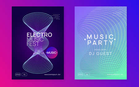 Sound flyer. Dynamic fluid shape and line. Commercial discotheque magazine set. Neon sound flyer. Electro dance music. Electronic fest event. Club dj poster. Techno trance party.