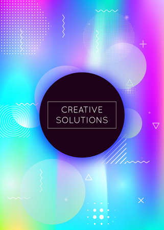 Fluid shapes background with liquid dynamic elements. Holographic bauhaus gradient with memphis. Graphic template for placard, presentation, banner, brochure. Hipster fluid shapes background. Vettoriali