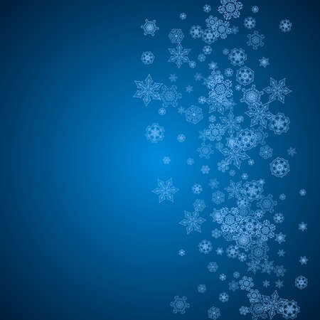 New Year snowflakes on blue background with sparkles. Winter theme. Christmas and New Year snowflakes  falling. For season sales, special offer, banners, cards, party invites, flyer. White frosty snow