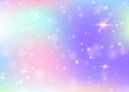 Magic background with rainbow mesh. Trendy universe banner in princess colors. Fantasy gradient backdrop with hologram. Holographic magic background with fairy sparkles, stars and blurs.
