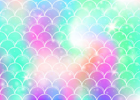 Princess mermaid background with kawaii rainbow scales pattern. Fish tail banner with magic sparkles and stars. Sea fantasy invitation for girlie party. Spectrum princess mermaid backdrop.
