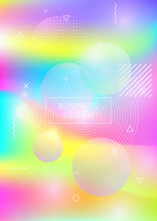 Holographic background with liquid shapes. Dynamic bauhaus gradient with memphis fluid elements. Graphic template for placard, presentation, banner, brochure. Stylish holographic background.