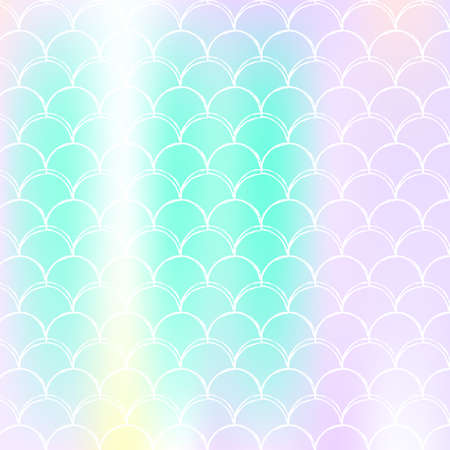 Mermaid scales background with holographic gradient. Bright color transitions. Fish tail banner and invitation. Underwater and sea pattern for girlie party. Bright backdrop with mermaid scales.