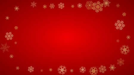 Christmas snowflakes on red background. Horizontal glitter frame for winter banner, gift coupon, voucher, ads, party event. Santa Claus color with golden Christmas snowflakes. Falling snow for holiday