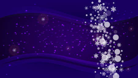 Xmas theme sales with ultraviolet snowflakes. New Year backdrop. Snow border for flyer, gift card, invitation, business offer and ad. Christmas trendy background. Holiday snowy banner for xmas theme Vettoriali