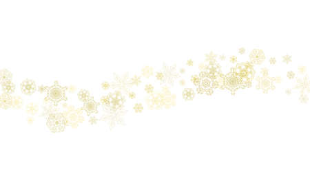 Glitter snowflakes frame on white horizontal background. Shiny Christmas and New Year frame for gift certificate, ads, banners, flyers. Falling snow with golden glitter snowflakes for party invite Vettoriali