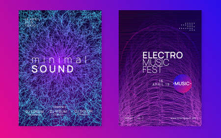 Club flyer. Dynamic fluid shape and line. Bright show banner set. Neon club flyer. Electro dance music. Trance party dj. Electronic sound fest. Techno event poster.