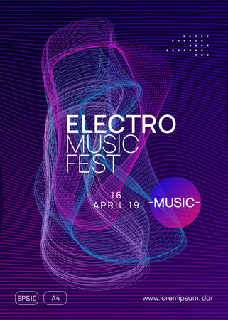 Dance flyer. Dynamic gradient shape and line. Trendy discotheque magazine concept. Neon dance flyer. Electro trance music. Techno dj party. Electronic sound event. Club fest poster. Vettoriali