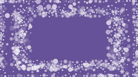 Snow frame with ultra violet snowflakes. New Year backdrop. Winter border for gift coupons, vouchers, ads, party events. Christmas trendy background. Holiday snowy banner with snow frame Vettoriali