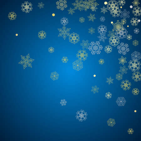 New Year frame with gold snowflakes on blue background. Winter window. Christmas and New Year frame for gift certificate, ads, banner, flyer, sales offers, event invitations. Glitter snow with sparkle