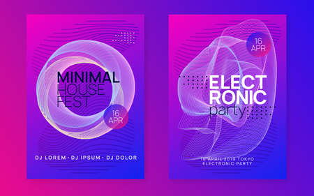 Music poster. Bright concert invitation set. Dynamic gradient shape and line. Neon music poster. Electro dance dj. Electronic sound fest. Club event flyer. Techno trance party. Vettoriali