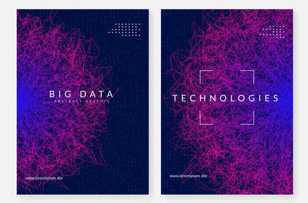 Big data concept. Digital technology abstract background. Artificial intelligence and deep learning. Tech visual for connection template. Neural big data concept backdrop. Vettoriali