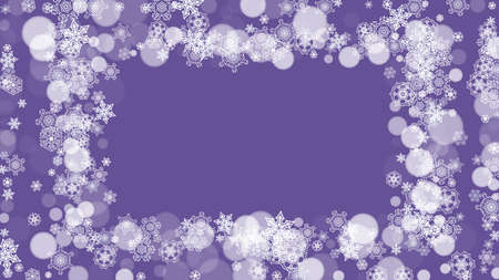 Winter border with ultraviolet snowflakes. New Year backdrop. Snow frame for flyer, gift card, party invite, retail offer and ad. Christmas trendy background. Holiday frosty banner with winter border Vettoriali