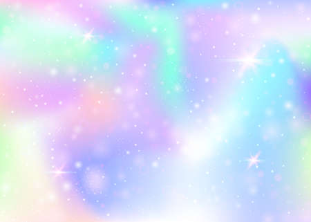 Holographic background with rainbow mesh. Kawaii universe banner in princess colors. Fantasy gradient backdrop with hologram. Holographic magic background with fairy sparkles, stars and blurs.
