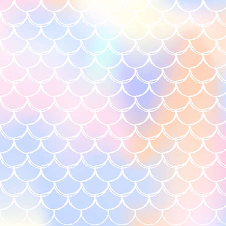 Gradient mermaid background with holographic scales. Bright color transitions. Fish tail banner and invitation. Underwater and sea pattern for girlie party. Iridescent backdrop with gradient mermaid.